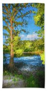 Cypress Tree By The River Beach Towel