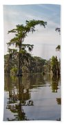 Cypress Trees And Spanish Moss In Lake Martin Beach Towel