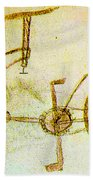 Da Vinci Inventions First Bicycle Sketch By Da Vinci Beach Towel