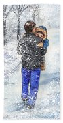 Dad And Child In The Winter Snow Beach Towel