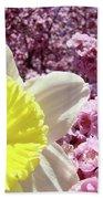 Daffodil Flower Art Prints Pink Tree Blossoms Blue Sky Baslee Beach Towel