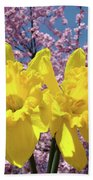 Daffodil Flowers Spring Pink Tree Blossoms Art Prints Baslee Troutman Beach Towel