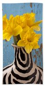 Daffodils In Wide Striped Vase Beach Towel