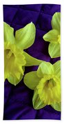 Daffodils On A Purple Quilt Beach Towel
