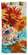 Dahlias In A Painted Cup Beach Sheet