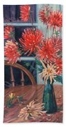 Dahlias With Red Cup Beach Towel