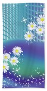Daisies And Butterflies On Blue Background Beach Towel