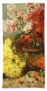 Daisies, Begonia, And Other Flowers In Pots Beach Towel
