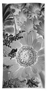 Daisy Bouquet In Black And White Beach Towel