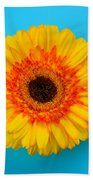 Daisy - Yellow - Orange On Light Blue Beach Towel