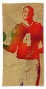 Dak Prescott Nfl Dallas Cowboys Quarterback Watercolor Portrait Beach Towel