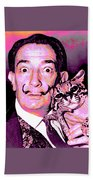 Dali With Ocelot And Cane Beach Towel