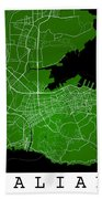 Dalian Street Map - Dalian China Road Map Art On Green Backgro Beach Towel