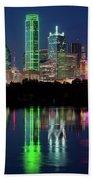 Dallas Skyline Reflection 91317 Beach Towel