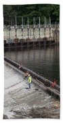 Dam Repairs  Along The Androscoggin River Beach Towel