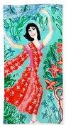 Dancer In Red Sari Beach Towel