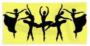 Dancing Ballerinas Silhouette Beach Towel