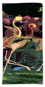 Dancing Flamingos  Beach Towel