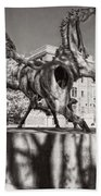 Dancing Horses Noir Beach Towel