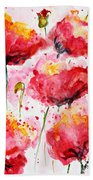 Dancing Poppies Galore Watercolor Beach Towel