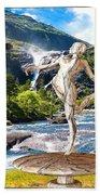 Dancing Statue Near The Waterfall Beach Towel
