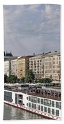 Danube Riverside With Old Buildings Budapest Hungary Beach Towel