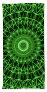 Dark And Light Green Mandala Beach Sheet