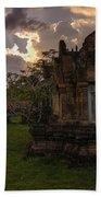 Dark Cambodian Temple Beach Towel