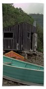Dark Harbour Fisherman Shack And Boat Beach Towel