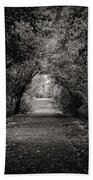 Dark Path In Black And White Beach Towel