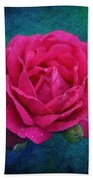 Dark Pink Rose Beach Towel