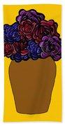 Dark Rose Folk Art Beach Towel