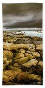 Dark Skies On Ocean Shores Beach Towel