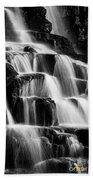 Dark Waterfall In Monochrome  Beach Towel by Rikk Flohr