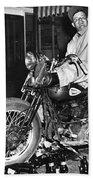Dave On A Harley Tulare Raiders Mc Hollister Calif. July 4 1947 Beach Towel