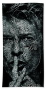 David Bowie Text Portrait - Typographic Poster With Album Titles And Background With Songs Names Beach Towel