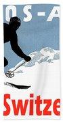 Davos, Alps, Mountains, Switzerland, Winter, Ski, Sport Beach Towel