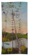 Dawn By The Pond Beach Towel