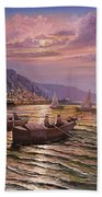 Day Ends On The Amalfi Coast Beach Towel by Rosario Piazza