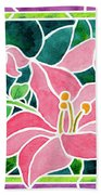 Day Lilies In Stained Glass Beach Towel