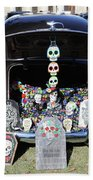 Day Of The Dead Classic Car Trunk Display  Beach Towel