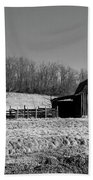 Days Gone By - Arkansas Barn In Black And White Beach Towel