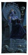 Death Queen On Throne With Skulls Beach Towel