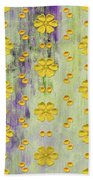 Decadent Urban Bright Yellow Patterned Purple Abstract Design Beach Towel