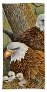 Decorah Eagle Family Beach Towel