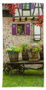 Half-timbered House, Riquewihr, Alsace,france  Beach Towel