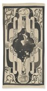 Decorative Design With Four Coats Of Arms, Carel Adolph Lion Cachet, 1874 - 1945 Beach Towel