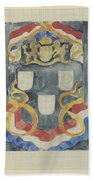 Decorative Design With The National Coat Of Arms, Flags And Banners, Carel Adolph Lion Cachet, 1874  Beach Towel