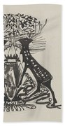 Decorative Design With Two Standing Deer, Carel Adolph Lion Cachet, 1874 - 1945 Beach Towel