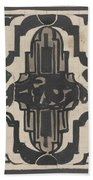 Decorative Design With Two Stylized Lions, Carel Adolph Lion Cachet, 1874 - 1945 Beach Towel